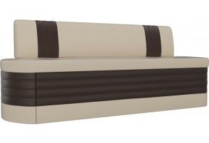 Кухонный прямой диван Токио бежевый/коричневый (Экокожа)
