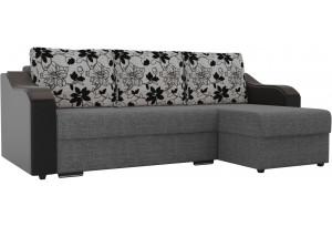 Угловой диван Монако Серый/Черный/Цветы (Рогожка/Экокожа)