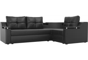 Угловой диван Тесей Черный (Экокожа)