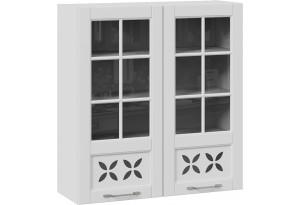 Шкаф навесной cо стеклом и декором (СКАЙ (Белоснежный софт))