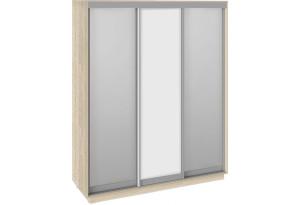 Шкаф-купе 3-х дверный «Румер» (Дуб Сонома, Зеркало/Белый снег/Зеркало)