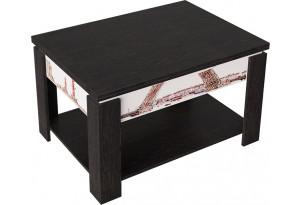 Журнальный столик тип 6 (трансформер) (Венге Цаво/Белый (с РИСУНКОМ))