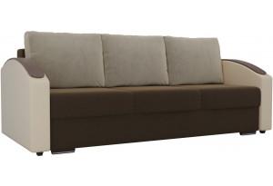 Прямой диван Монако slide Коричневый/Бежевый (Микровельвет/Экокожа/флок на рогожке)