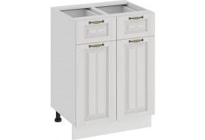 Шкаф напольный с двумя ящиками и двумя дверями «Лина» (Белый/Белый)