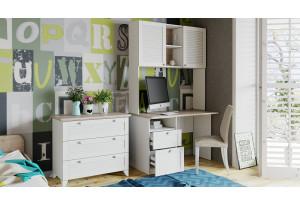 Набор детской мебели «Ривьера» №9 (Дуб Бонифацио/Белый)