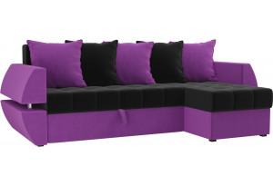 Угловой диван Атлантида У/Т черный/фиолетовый (Микровельвет)