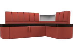 Кухонный угловой диван Тефида Коричневый/Коралловый (Микровельвет)