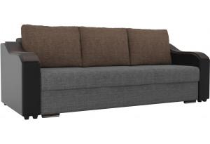 Прямой диван Монако Серый/черный (Рогожка/Экокожа)