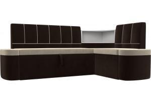 Кухонный угловой диван Тефида бежевый/коричневый (Микровельвет)