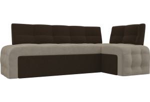Кухонный угловой диван Люксор бежевый/коричневый (Микровельвет)