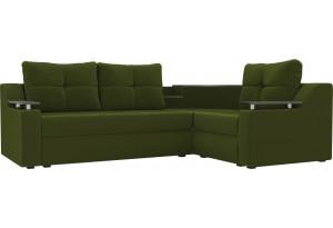 Угловой диван Тесей Зеленый (Микровельвет)