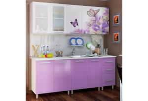 Кухонный гарнитур с фотопечатью «Ирис» 2,0 м Люкс