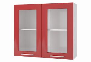 Люкс Навесной шкаф 800 мм (витрина) с дверями МДФ и стеклом