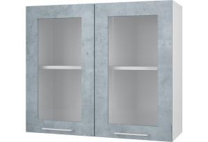 Лофт Навесной шкаф 800 мм (витрина) с дверями МДФ и стеклом