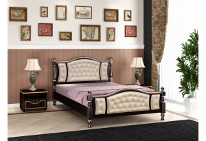 Кровать Жасмин орех, с элементами экокожи