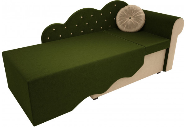 Детская кровать Тедди-1 Зеленый/Бежевый (Микровельвет) - фото 2