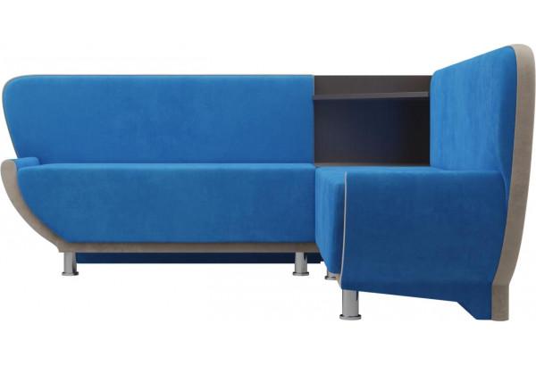 Кухонный угловой диван Лотос голубой/бежевый (Велюр) - фото 2