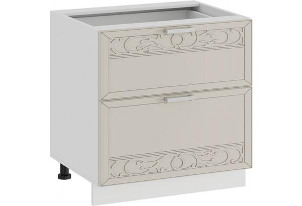 Шкаф напольный с двумя ящиками «Долорес» (Белый/Крем) - фото 1