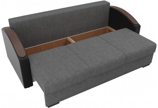 Прямой диван Монако slide Серый/черный (Рогожка/Экокожа) - фото 5