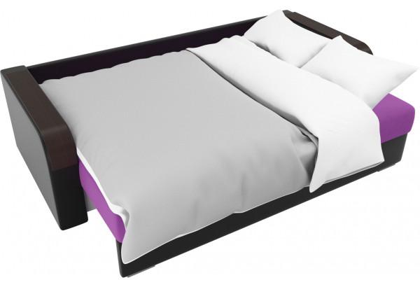 Прямой диван Мейсон Фиолетовый/Черный (Микровельвет/Экокожа/флок на рогожке) - фото 7
