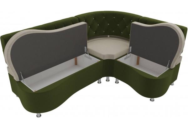 Кухонный угловой диван Вегас бежевый/зеленый (Микровельвет) - фото 5