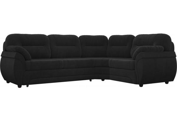 Угловой диван Бруклин Черный (Велюр) - фото 1