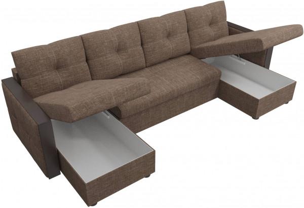 П-образный диван Валенсия Коричневый (Рогожка) - фото 5