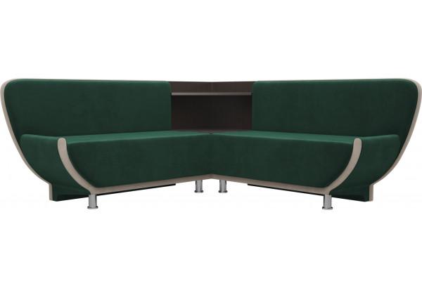 Кухонный угловой диван Лотос Зеленый/Бежевый (Велюр) - фото 1