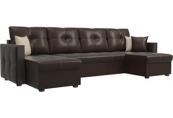 П-образный диван Валенсия Коричневый (Экокожа) - фото 1