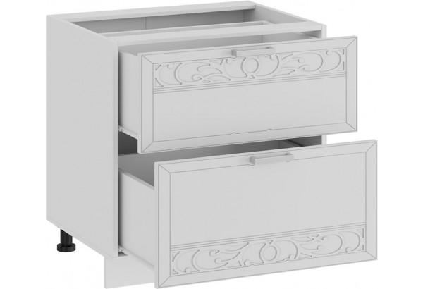 Шкаф напольный с двумя ящиками «Долорес» (Белый/Сноу) - фото 2