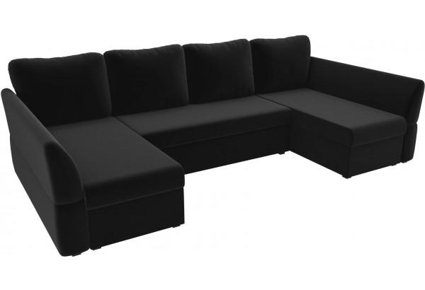 П-образный диван Гесен Черный (Микровельвет) - фото 4