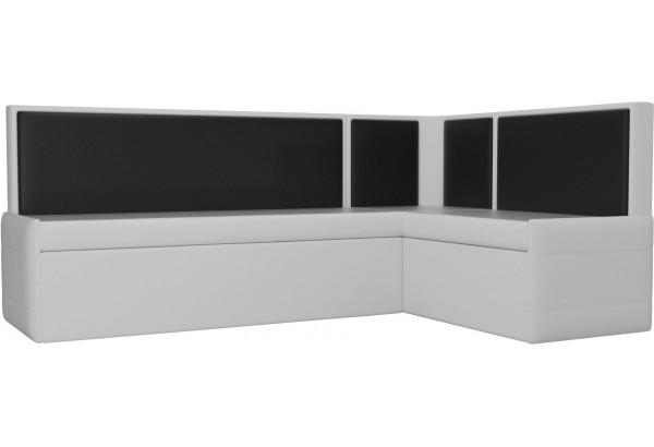 Кухонный угловой диван Кристина Белый/Черный (Экокожа) - фото 1