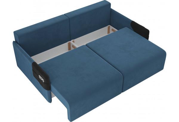 Прямой диван Армада голубой/черный (Велюр) - фото 5