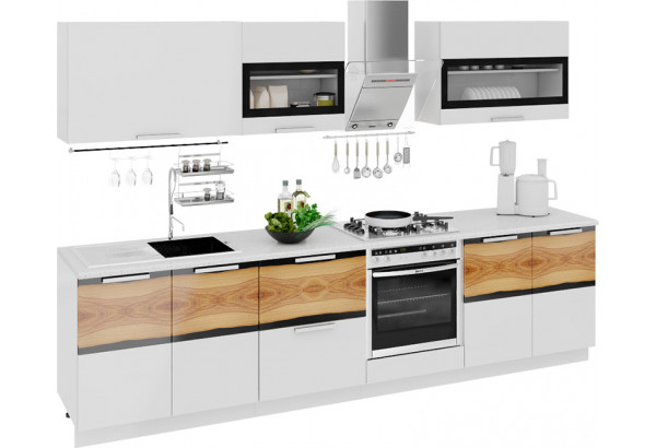 Кухонный гарнитур длиной - 300 см (со шкафом НБ) Фэнтези (Белый универс)/(Вуд) - фото 1