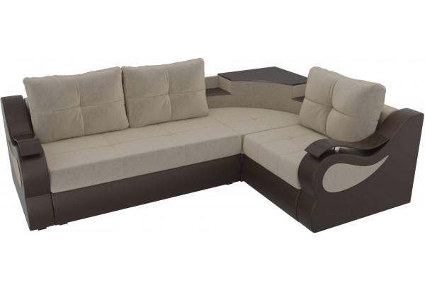 Угловой диван Митчелл бежевый/коричневый (Микровельвет/Экокожа) - фото 4