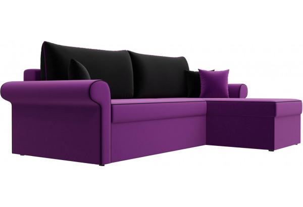 Угловой диван Милфорд Фиолетовый/Черный (Микровельвет) - фото 3