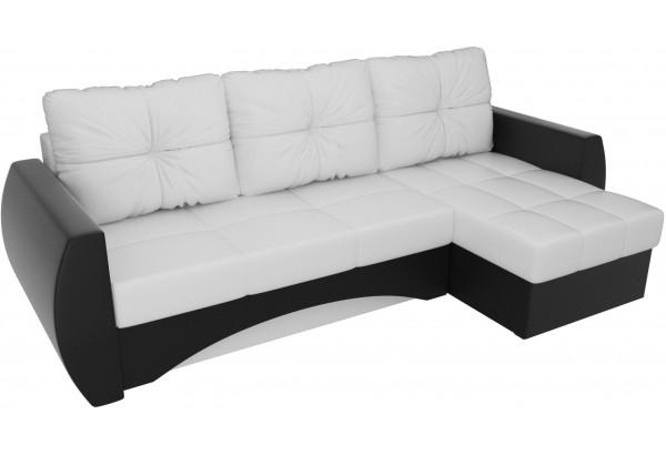 Угловой диван Сатурн Белый/Черный (Экокожа) - фото 4