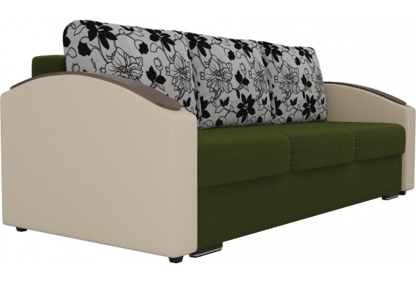 Прямой диван Монако slide Зеленый/Бежевый (Микровельвет/Экокожа/флок на рогожке) - фото 4