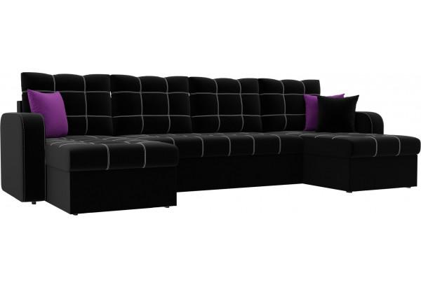 П-образный диван Ливерпуль Черный (Микровельвет) - фото 1