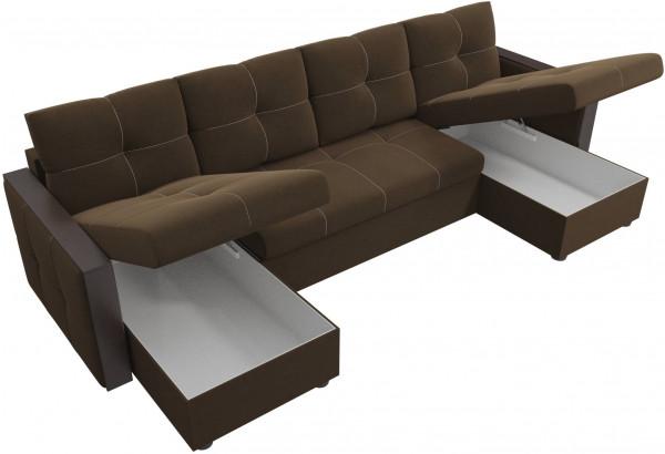 П-образный диван Валенсия Коричневый (Микровельвет) - фото 5