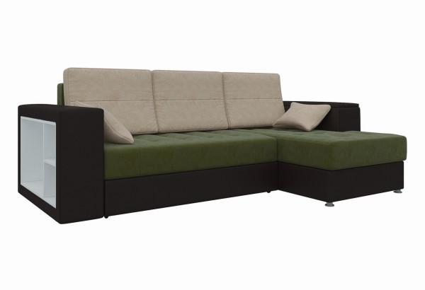 Угловой диван Атлантис зеленый/коричневый (Микровельвет) - фото 1