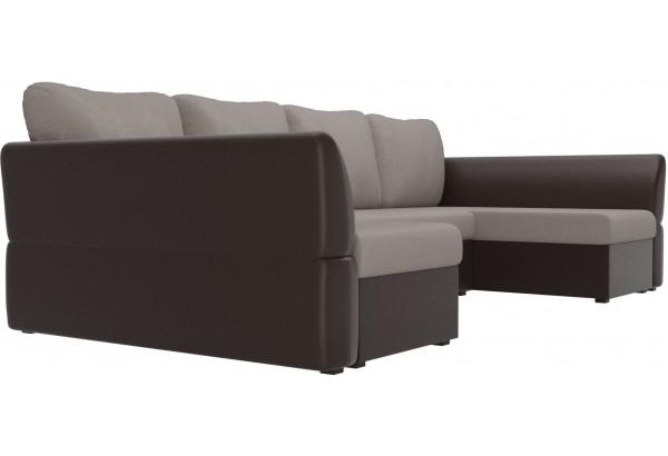 П-образный диван Гесен бежевый/коричневый (Рогожка/Экокожа) - фото 3