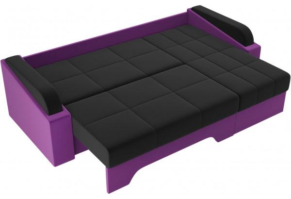 Угловой диван Панда черный/фиолетовый (Микровельвет) - фото 7