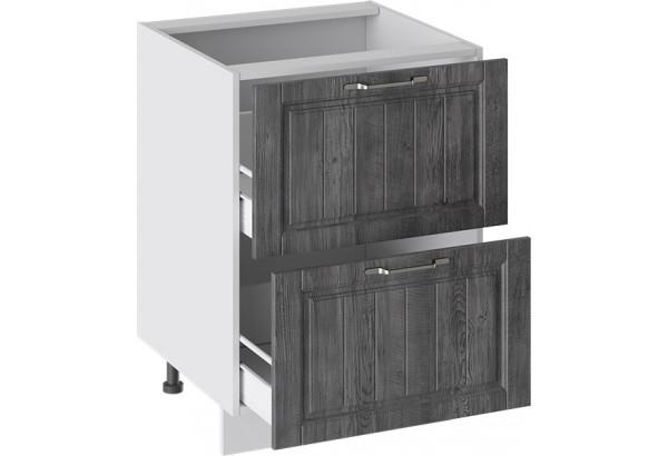 Шкаф напольный с 2-мя ящиками (ПРОВАНС (Белый глянец/Санторини темный)) - фото 2