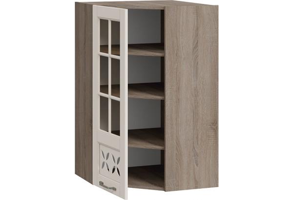 Шкаф навесной угловой c углом 45 со стеклом и декором (СКАЙ (Бежевый софт)) - фото 2
