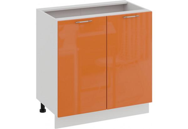 Шкаф напольный с двумя дверями «Весна» (Белый/Оранж глянец) - фото 1