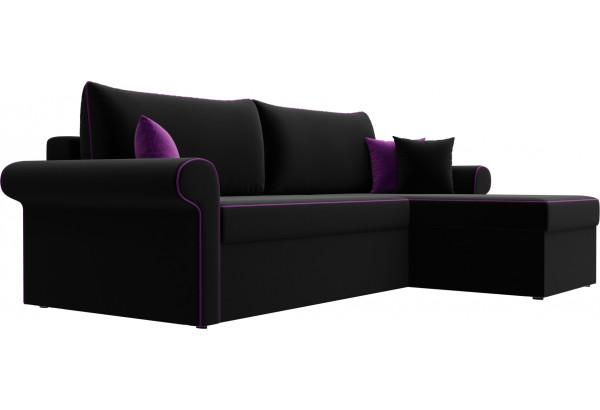 Угловой диван Милфорд Черный (Микровельвет) - фото 3