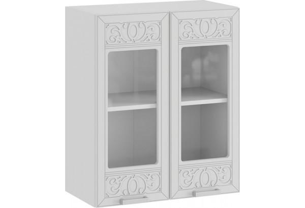 Шкаф навесной c двумя дверями со стеклом «Долорес» (Белый/Сноу) - фото 1