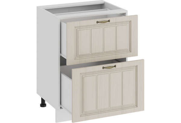 Шкаф напольный с двумя ящиками «Лина» (Белый/Крем) - фото 2