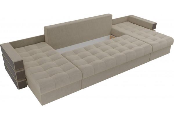 П-образный диван Венеция Бежевый (Микровельвет) - фото 6